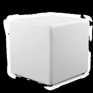 Location de pouf en simili cuir blanc